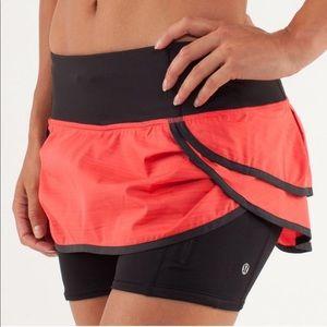 Lululemon Speed Squad Skirt sz 6 red & black